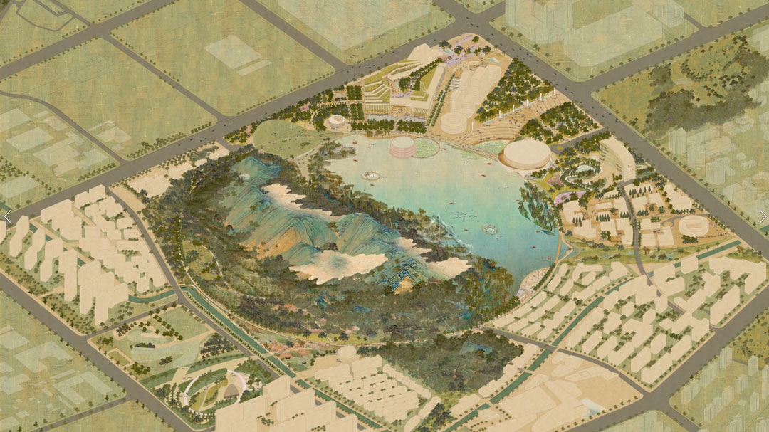Urban Landscape Design Animation | Tom Leader - Lion Mountain Park 狮山公园 苏州 中国 suzhou china ancient chinese painting axonometric axo urban planning landscape architecture design architectural communications visual storytelling 2D 3D multimedia Playhou.se Playhouse